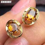 Earrings Natural Yellow Citrine Genuine Gemstone Solid 925 <b>Sterling</b> <b>Silver</b> Real Earrings Women Fine <b>Jewelry</b> ZHHIRY
