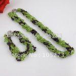 Wholesale Elegant jewelry 4-5mm red garnet green peridot necklace 3rown 18inch necklace <b>bracelet</b> jewelry – A1646
