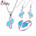 CiNily Created Blue Fire Opal Purple Zircon <b>Silver</b> Plated Wholesale for Women Jewelry Ring Pendant Earrings Jewelry Set OT162