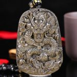 Beautiful Natural Gold Obsidian <b>Handmade</b> Carved Chinese Dragon Lucky Amulet Pendant + free Beads Necklace Fashion <b>Jewelry</b>