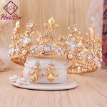 Elegant Retro Style Bride Crown Earrings Set Fashion Alloy Crystal Statement <b>Jewelry</b> Set Graceful Wedding Clothings <b>Accessories</b>