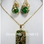 Prett Lovely Women's Wedding Charming Green gem Dragon Pendant necklace earring set silver-<b>jewelry</b> brinco