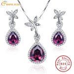 BONLAVIE Water Drop 925 Sterling <b>Silver</b> Spessartine Garnet Jewelry Sets <b>Earrings</b>/Pendant/Necklace For Women With Free Gift Box