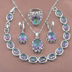Unique Design Rainbow Zirconia 925 Sterling Silver Women's <b>Jewelry</b> Sets YZ0160