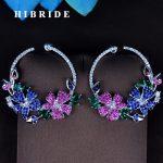 HIBRIDE Beauty Flower Shape Round Cut AAA Cubic Zirconia Pave Stud Earring For Women <b>Wedding</b> <b>Jewelry</b> Boucle d'oreille Gift E-793