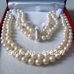 Fashion style 2 rows 8-9mm white akoya pearl <b>making</b> charms <b>jewelry</b> necklace 17-18inch YE2091