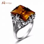 Bulgaria 100% <b>Handmade</b> Charm Female Ring 925 Sterling Silver Vintage Brown Amber Crystal Wedding Rings Fashion <b>Jewelry</b>