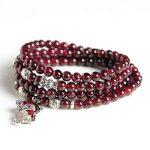 Natural 5mm Garnet 925 <b>Silver</b> Fox Beads Necklace