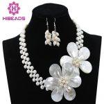 Beautiful <b>Handmade</b> White Pearl Beads Flower Necklace Set Wedding Bridal <b>Jewelry</b> Christmas Gift <b>Jewelry</b> Set Free Shipping ABC919