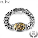 MetJakt Eye of God <b>Bracelets</b> & Thai Master Carving Vintage Phoenix and Cross Solid 925 Sterling <b>Silver</b> Men's Punk <b>Bracelet</b> 19cm