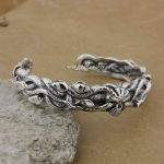 925 Sterling <b>Silver</b> Snakes on Skull Mens <b>Bracelet</b> Bangle 9B009