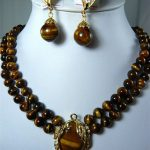 Prett Lovely Women's Wedding 2 colors!2 row 8mm natural tiger eye stone necklace + pendant clip earrings