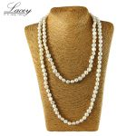 Long natural freshwater pearl jewelry neckalce for women,white real mother pearl <b>necklace</b> high quality 110cm-120cm