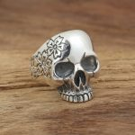 Factory wholesale sterling silver <b>jewelry</b> <b>handmade</b> Vintage Silver S925 Mens personality ring Sakura Skull Ring