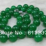 new Fashion Style diy Natural 12MM GREEN chalcedony jades stone BEAD NECKLACE 24INCH beads <b>jewelry</b> <b>making</b> YE2076