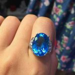 Natural blue topaz stone Natural gemstone ring S925 <b>sterling</b> <b>silver</b> trendy Elegant big round women party gift fine <b>Jewelry</b>