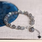<b>Handmade</b> natural gray Moonstone bracelet women's <b>jewelry</b> crystal semi precious stones, 925 sterling silver, Chinese style, retro