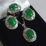Women's Wedding wonderful lady's 10-14mm green stone beads ring#7/8/9 pendant & earring set real silver mujer fine quality