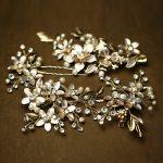Jonnafe Charming Gold Floral Wedding Accessories Pearl Hair <b>Jewelry</b> <b>Handmade</b> Bridal Clip Pins Set Headpiece