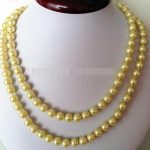 Hot sale new Style >>>HOT! Fashion 8mm Yellow Ocean Shell Pearls Necklace Beads DIY Fashion <b>Jewelry</b> <b>Making</b> Design Natural
