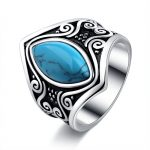 Vintage Big Tibetan Silver Statement Ring With Stone Bohemian Indian <b>Jewelry</b> <b>Antique</b> Rings For Women Girls Gift A0199