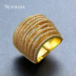 NEWBARK Wide Female <b>Wedding</b> Bands Ring Multilayer Hollow Gold Color Engagement <b>Jewelry</b> For Fashion Women Micro Zircon Stone Gift