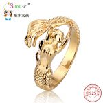 2018 New Arrival Authentic 925 Sterling Silver Mermaid Gold color Adjustable Open Ring Women Wedding silver ring <b>Jewelry</b> Gifts