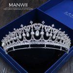 MANWII High-quality Pearl Crowns Cubic Zirconcia Bride Tiaras <b>Wedding</b> Hair Accessories For Women Princess <b>Jewelry</b> HA20015