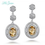L&zuan 4.75ct Natural Citrine Gemstone 925 <b>sterling</b>–<b>silver</b>–<b>jewelry</b> Trendy Drop Earrings For Women Fine <b>Jewelry</b> Colar E0046-W05
