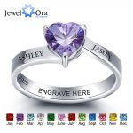 Personalized 925 Sterling Silver Heart Birthstone Ring DIY <b>Jewelry</b> For Couples Customize Name Ring Best Gift (JewelOra RI101975)