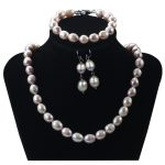 SNH A 10mm Rice Bracelet & Necklace & <b>Earrings</b> 925 Sterling <b>Silver</b> Natural Cultured Freshwater Pearl Jewelry Sets Gift