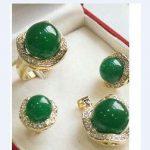 Prett Lovely Women's Wedding Wholesale 10*14MM Natural green gem Silver Pendant Earring Ring Jewellery set silver-<b>jewelry</b>