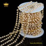 5meters Beige Glass 3x4mm Rosary Chains,Wire Wrapped Faceted Rondelle Glass Gold Color Copper Links <b>Fashion</b> Chain Supplies HX104