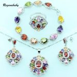 Reginababy Multi <b>Silver</b> color Overlay Bridal Jewelry Sets For Women Wedding <b>Bracelet</b>/Necklace/Earrings/Ring/Pendant