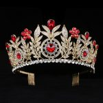 Large Crystal Tiaras Rhinestone Queen Crowns Wedding Hair Accessories Leaf headbands Diadem with combs hair <b>jewelry</b>