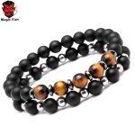 Mcllroy Bracelet men Nature Stone&Titanium Steel bracelets for Present Gift <b>accessories</b> Tension setting Beads Men women <b>jewelry</b>