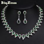 BlingZircons Women Austria Crystal Costume Jewelery Green Pear Shape Bridal <b>Necklace</b> Earrings Set For Wedding Decoration JS014