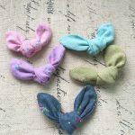Wholesale 40PCs <b>Handmade</b> Fabric Ribbon Knot Bow Animal Rabbit Ears Button Patch Sticker Fit Girls Hair <b>Jewelry</b> Clip Elastic Band