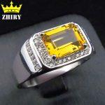 Men ring Solid 925 <b>sterling</b> <b>silver</b> Natural citrine gem Genuine stone rings <b>Jewelry</b> Men and women General