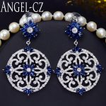 ANGELCZ Vintage Geometric Pendant Drop Blue Cubic Zirconia Stone Ethnic Large Earrings For Women <b>Handmade</b> Bohemian <b>Jewelry</b> AE073