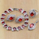 Vintage 925 Sterling <b>Silver</b> Jewelry Red Cubic Zirconia White CZ Jewelry Sets Women Earrings/Pendant/Necklace/Rings/<b>Bracelet</b>