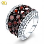 HUTANG Natural Garnet and Topaz Gemstone Wedding Ring Solid 925 Sterling <b>Silver</b> Fine Fashion Stone <b>Jewelry</b> Women's Gift New