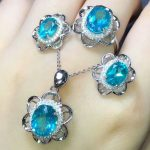 925 sterling <b>silver</b> blue topaz natural gemstone ring <b>earring</b> pendant necklace new style fine jewelry set MEDBOO hot fashion set