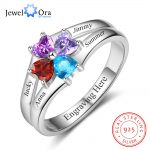Family Ring Personalized 4 Birthstone Engrave 4 Name Rings For Mom 925 Sterling Silver Anniversary <b>Jewelry</b> (JewelOra RI102986)