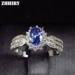 ZHHIRY Natural Blue Tanzanite ring Genuine Solid 925 <b>Sterling</b> <b>Silver</b> Real Gemstone Rings Woman Fine <b>Jewelry</b>