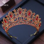 CC big crown tiara luxury shine red cz stone pageant engagement <b>wedding</b> hair accessories for bride <b>jewelry</b> high quality XY221