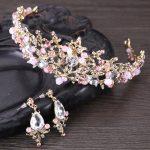 Fashion Design Pink Leaf Crystal Bride Necklace Earrings Tiaras Crowns Bridal Wedding <b>Jewelry</b> Set <b>Accessories</b> For Women