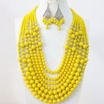 Yellow lemon 7 rows necklace earrings round imitation shell baking paint glss crystal abacus beads <b>handmade</b> <b>jewelry</b> set B1297