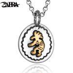 ZABRA Genuine 925 Sterling <b>Silver</b> Indian Figure Ethnic Pendant <b>Necklace</b> For Men Gold Color Copper Mans Fashion Pendants Jewelry