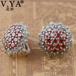 V.YA Real 925 Sterling Silver Jacinth Garnet Stone Earrings For Women Lady Elegant Party <b>Jewelry</b> Hoop Earrings Best Gifts